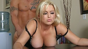 Abbey Brooks bent over the desk & pounded