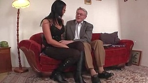Young college woman licked and fucked by old man