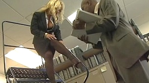 Busty blonde office lady gets nailed by black cock