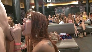 Blond bitch with a hungry mouth devours male stripper