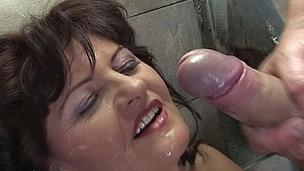Horny aged slut caught on a public rest room