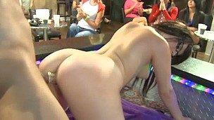 Dancing Bear loves to disrobe for horny babes for money