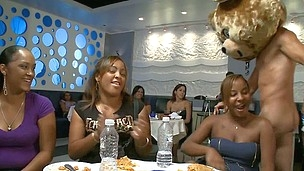 Ebony stripper has his meat eaten by nasty babes convenient the club