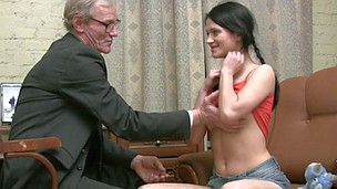 Teen chick allows touching her miniature titties by aged guy