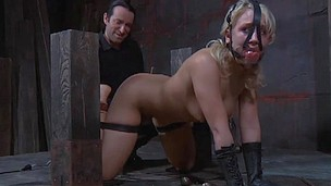 Disobedient slave chick in mouth bondage gets fucked and tortured