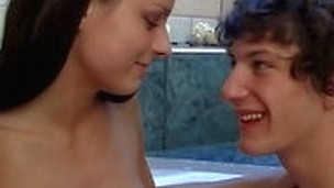 Gracious stud was taking a bath when suddenly his girlfriend decided to join him