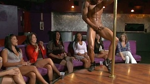 Group of horny women fuck with the male strippers