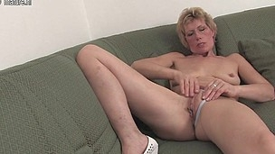 Horny blond housewife and her toy