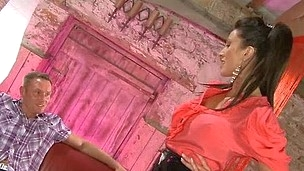 Miss Hybrid in tight latex skirt gives this guy a sexual constituent attack