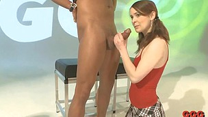 Little teen lassie is funked to get so long fat dick in her mouth