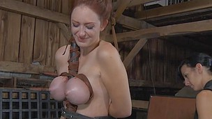 Poor babe with pressed wildly tits has her body penalized
