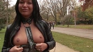 Wicked angel in sexy panty nailed in public