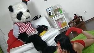 Sexy dark brown hair beauty in red tempts Panda