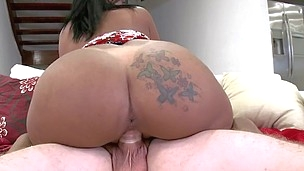 Rollicking latina with natural knockers is satisfying her amateur boss