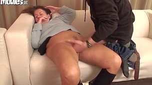A granny gets fingered fucked and then gives bj