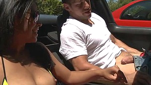 Completely unashamed chick is showing her perky hooters to her dude