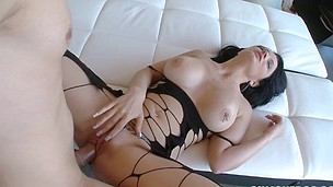 Entrancing and cute latina honey is riding on his massive penis