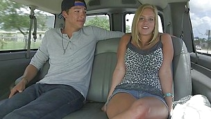 chesty stunner blows inside the car!