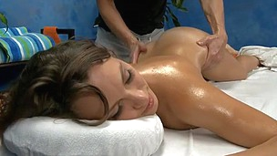 Heavenly hot bitch with oiled body gets banged hard on the massage table