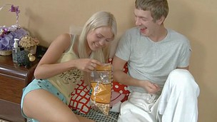 Nice blonde hoe is pressing her bean while chap poking her pussy