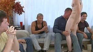Hard dick in lad's face hole