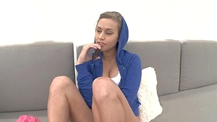 Curious and sporty babe Ashley Fires is doing deep blowjob