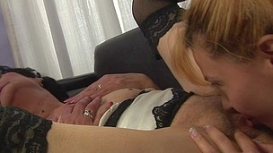 Kinky granny licking and pissing on a sexy cutie