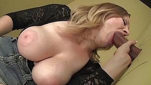 girl masturbates while sucking black gloryhole cock