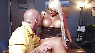 baldie squeezes blonde's huge fake tits