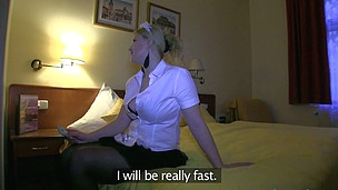 Bewitching nurse Anna is offering her wild pussy at a hotel room