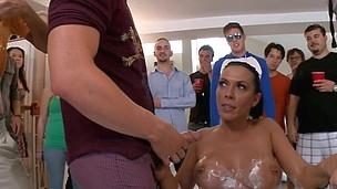 Dark haired and awesome Rachel is having group fuck indoors