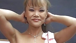 asian teacher lubes up and jerks off dick